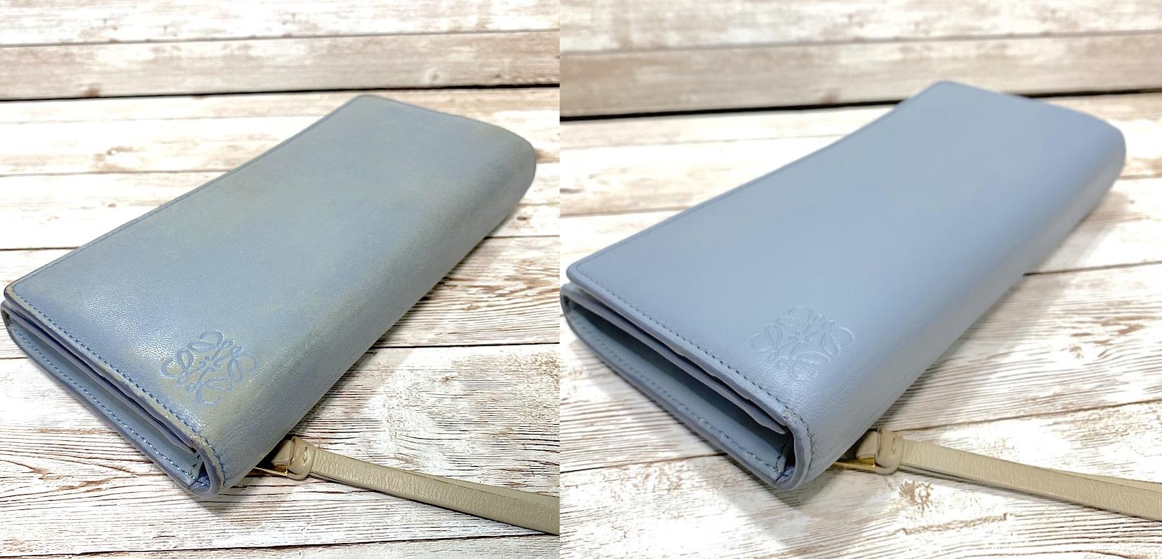 ロエベ(Loewe)のラウンド財布のカラーリング(色補修)をご紹介します。