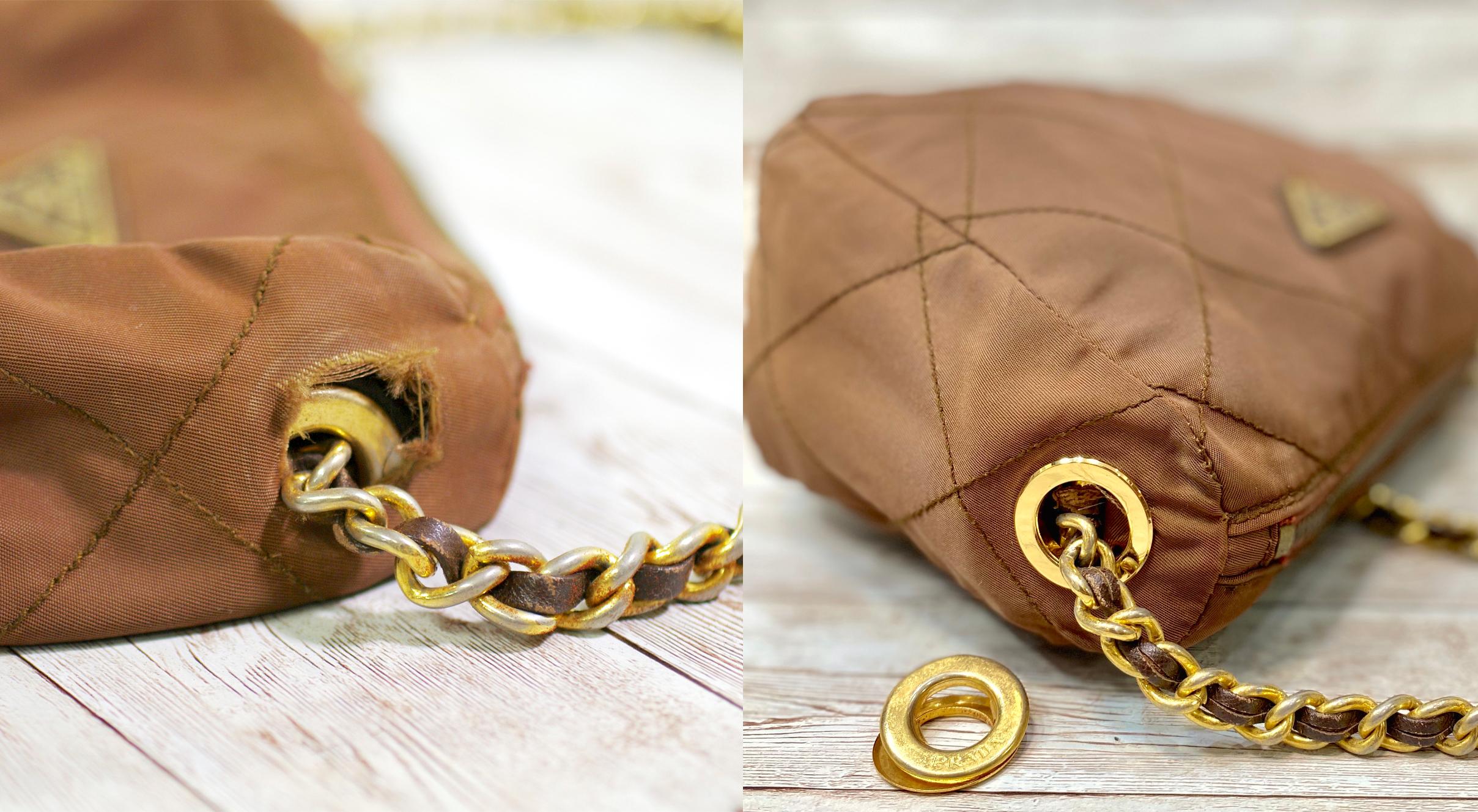 プラダ(Prada) ナイロン ショルダーバッグの金具交換