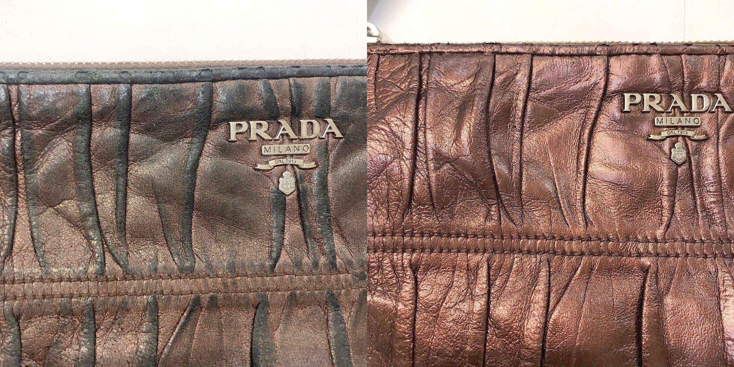 プラダ(prada)のメタリックレザーのポーチの全体色補修をご紹介
