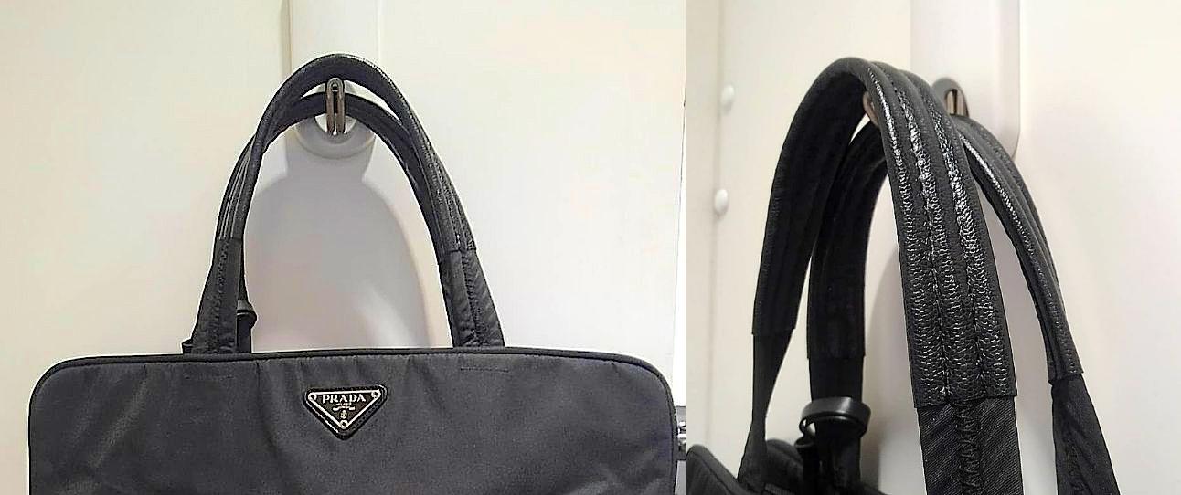 プラダ(Prada) ナイロンバッグの持ち手革補強をご紹介いたします。