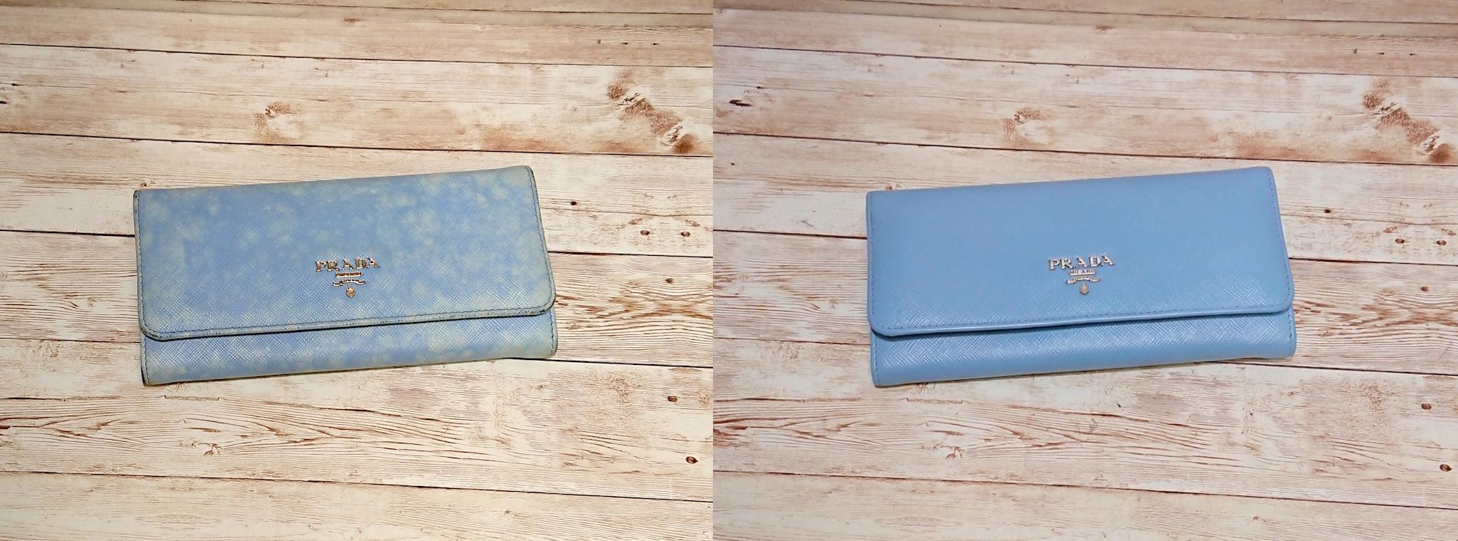 プラダ(Prada) サフィアーノレザーの青い長財布の色補修をご紹介