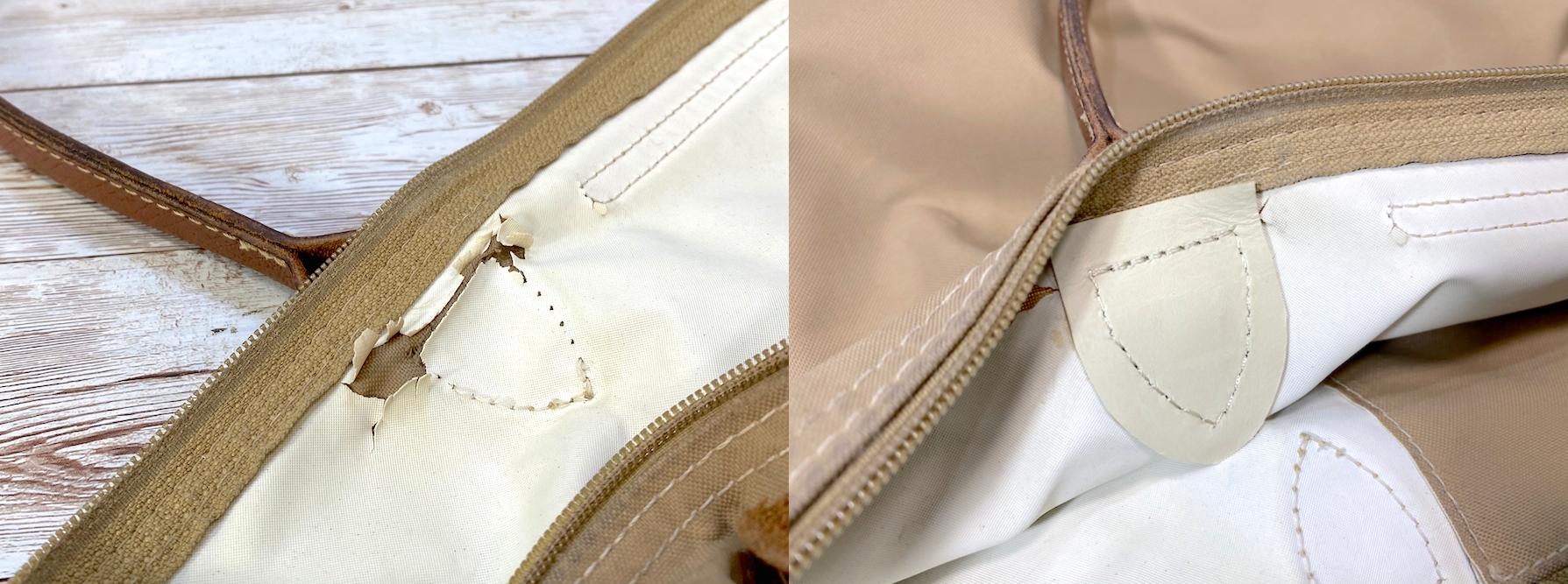 ロンシャン(Longchamp) プリアージュバッグ持ち手の付け根補強をご紹介